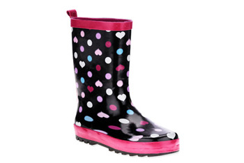 Heart polka dot rainboots, $15, at WalMart.com