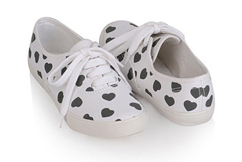 Heart print tennis shoes, $8, at Forever 21