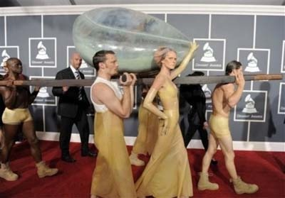 Lady Gaga showed up in an egg, carried by attendants