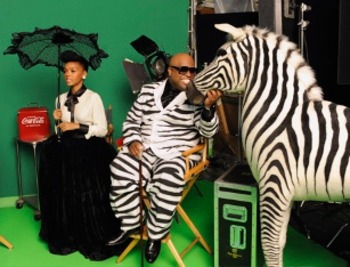 Janelle and Retro Singer Cee Lo Green in Vintage Coke Ad Photoshoot!