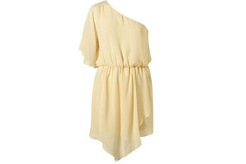 Lemon one shoulder chiffon dress, $85, at Topshop.com
