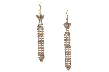 Necktie rhinestone earrings, $6.80, at Forever21.com