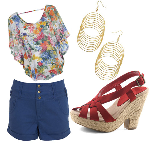 Blue shorts, $20, New Look, Floral Top, $30, Miss Selfridge, Gold Earrings, $8, Forever 21, Red Wedges, $35, New Look