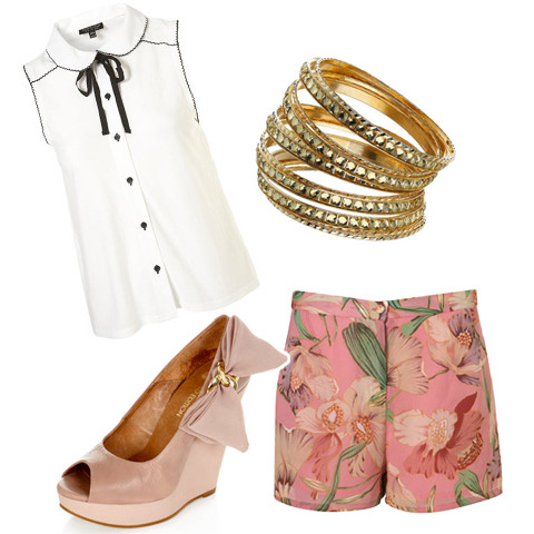 Pink lily shorts, $50, Topshop, White button up shirt, $35, Miss Selfridge, Pink Bow wedges, $30, Miss Selfridge, Gold Bangles, Forever 21