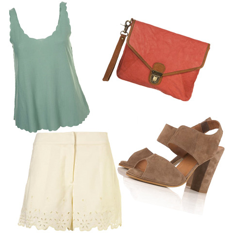 Cream shorts, $45, New Look, Mint Green Top, $18, Forever 21, Brown suede sandals, $30, Miss Selfridge, Orange clutch bag, $10, New Look