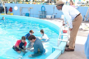 In the water AUSTIN HIGHSMITH as Phoebe and HARRY CONNICK JR. as Dr. Clay Haskett attach the tail to WINTER as NATHAN GAMBLE as Sawyer Nelson and BETSY LANDIN as Kat hold Winter while MORGAN FREEMAN as Dr. Cameron McCarthy
