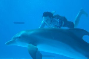 NATHAN GAMBLE as Sawyer Nelson and WINTER the dolphin take an underwater swim