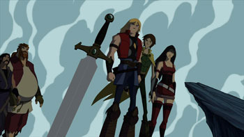 Hogun, Volstagg, Thor, Loki and Sif
