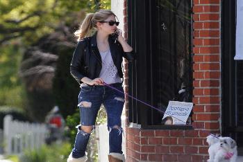 Ashley Benson walking her puppy Olive