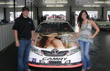 Lacy's album artwork made onto this car and around a race track!