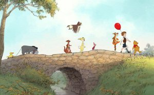 Eeyore, Kanga, Roo, Owl, Rabbit, Piglet, Tigger, Christopher Robin, and Winnie the Pooh