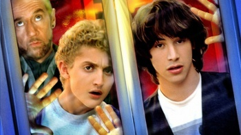 Bill and Ted (Keanu Reeves) have to travel through time just to pass class!