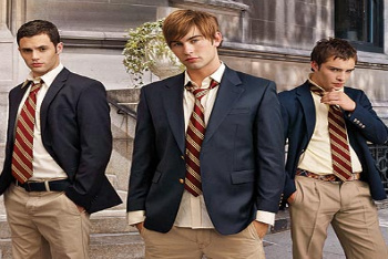 Penn Badgley with co-stars Ed Westwick and Chace Crawford