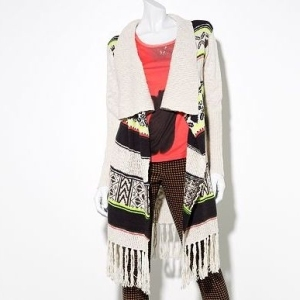 Geometric print Princess Vera Wang coat sweater with fringe