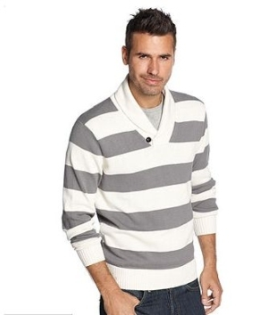 Rugby Stripe shawl collar pullover