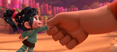 Vanellope shakes Ralph's huge hand