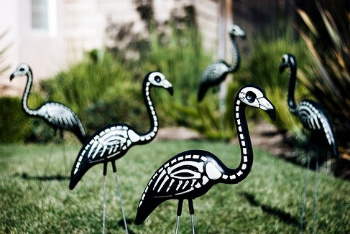 Skeleton Flamingos Spookin' Your Yard