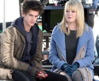 Andrew and Emma on set