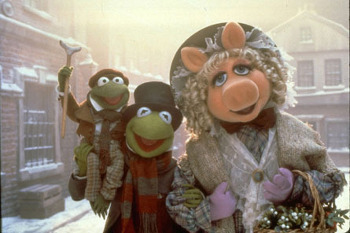 Kermit and Miss Piggy are recast as the downtrodden Bob and Belinda Cratchit