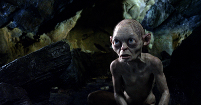 Gollum voiced by Andy Serkis