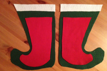Cut the Mirrored  Sides of Your Stocking- Don't Forget a Cuff at the Top!