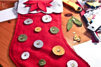 Add Buttons, Sequins, Ribbon, Glitter... Whatever you Want to your Stocking