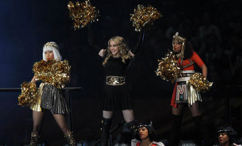 Nicki Minaj, Madonna and M.I.A. at the 2012 Superbowl Halftime show