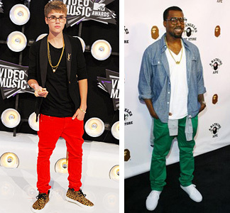 Justin Bieber and Kanye West in colored jeans