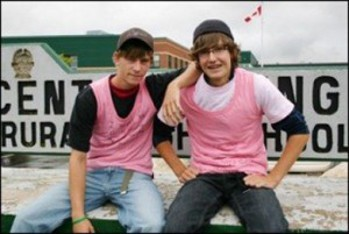 Travis Price and David Shepherd organized the first Pink Shirt Day at their high school in Nova Scotia