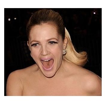 Drew Barrymore's Tongue Piercing