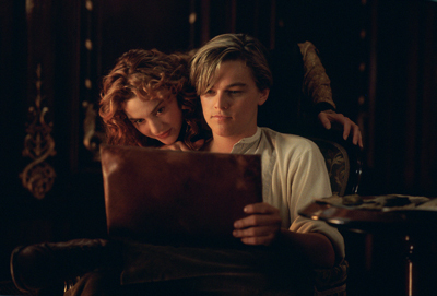 Kate Winslet plays Rose DeWitt Bukater and Leonardo DiCaprio plays Jack Dawson in TITANIC.