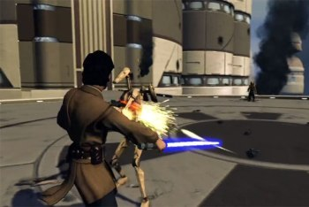Fighting a Battle Droid