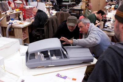 Directors Chris and Sam check out mini-car