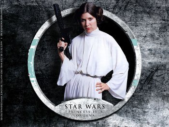 Princess Leia uses a gun with royal grace