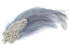 A feather fascinator grabs attention