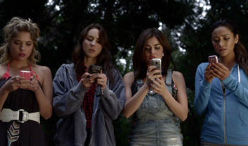 "At the end of last night's season premiere the girls all receive a text from ""A"""