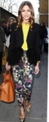 Flowered pants look great paired with blocks of color