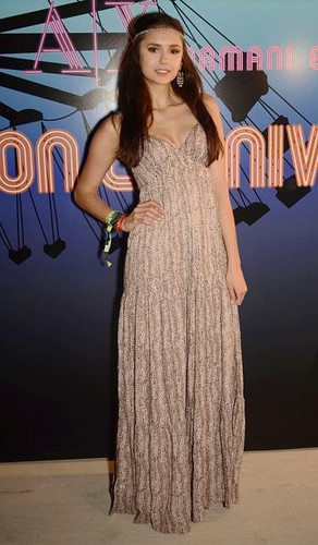 Nina Dobrev in a groovy gown