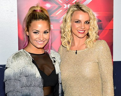 Demi and Britney at press op