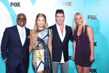 L.A. Reid, Demi, Simon and Britney at Fox press day