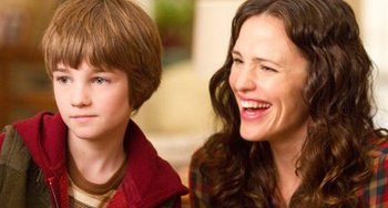 "CJ as Timothy with ""mom"" Jennifer Garner"