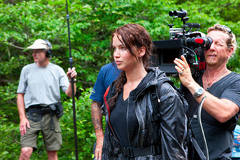 Jennifer on set