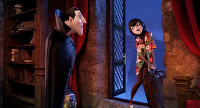 Dad Dracula (Adam Sandler) with daughter Mavis (Selena)