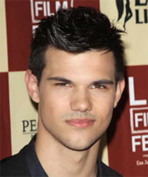 Taylor Lautner's signature crunchy styled look. His firm hold styling products always have a little shine as well.