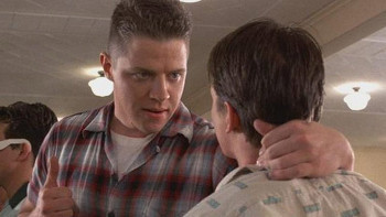 Biff Tannen makes time-traveler Marty McFly's life in the past, present and future