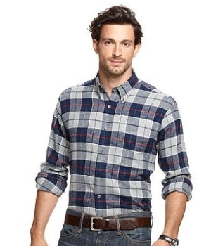 Checks and large prints can minimize a guy's height and make him look wider