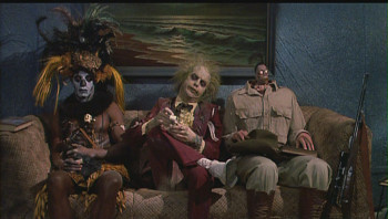 Beetlejuice in an afterlife waiting room