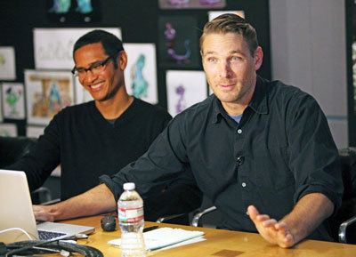 L to R Ricky Nierva and Jason Deamer talk characters