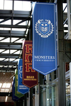 MU banners in Pixar lobby