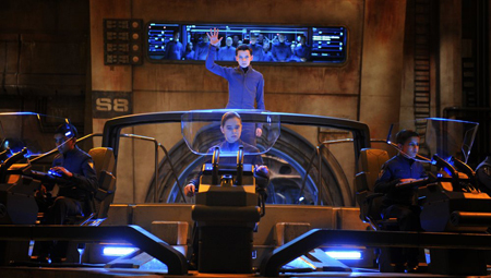 Ender, Petra and friends in the virtual battle control room